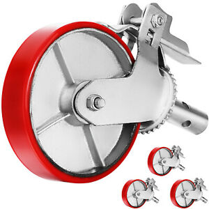 4 Scaffolding Frame 8 Polyurethane Caster Wheels With Double Scaffold Step Lock