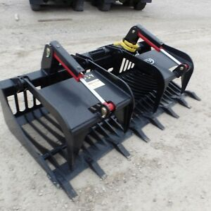 New 72 Hd Root Brush Grapple Bucket 2 Cylinder Open Bottom Usa Made Attachment