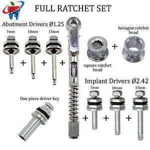 Dental Implant Abutment Surgical Torque Wrench Hex Ratchet 7 Drivers 2 Heads