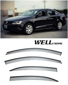Wellvisors Side Window Visors W Black Trim Volkswagen Jetta Sedan 2011 2016