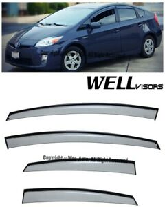 Wellvisors Side Window Visors W Black Trim Rain Guard Toyota Prius 2010 2015