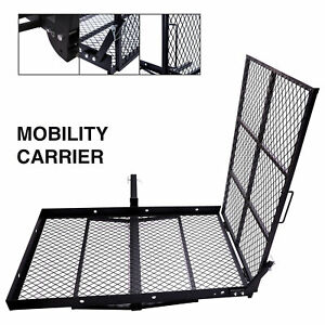 Steel Construction Wheelchair Trailer Hitch Carrier Cargo Carrier W loading Ramp
