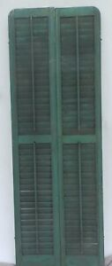 Antique Pair Rounded Arched Wood Louvered Shutter Shabby Vtg Chic 03 17p