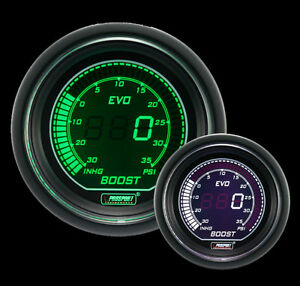 Prosport Digital Boost Gauge Evo Series Green White 52mm