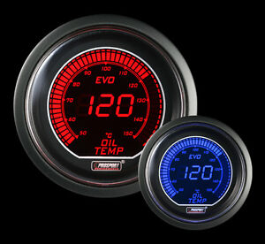 Metric Oil Temperature Gauge Prosport Evo Series Red And Blue 52mm 2 1 16