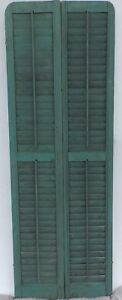 Antique Pair Rounded Arched Wood Louvered Shutter Shabby Vtg Chic 09 17p