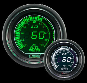 Prosport 52mm Evo Series Digital Fuel Pressure Gauge Green And White