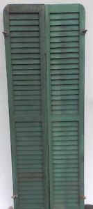 Antique Pair Rounded Arched Wood Louvered Shutter Shabby Vtg Chic 17 17p