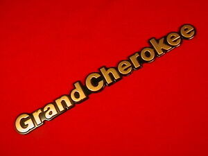 Jeep Emblem Grand Cherokee Badge Gold Letters With Black Edges