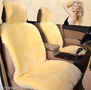 100 Real 2pcs Beige Sheepskin Pelt Wool Car Seat Cover universal Fit Pair