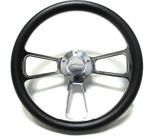 Black Steering Wheel 14 Billet Muscle Style Wheel With Chevy Bowtie Horn Button