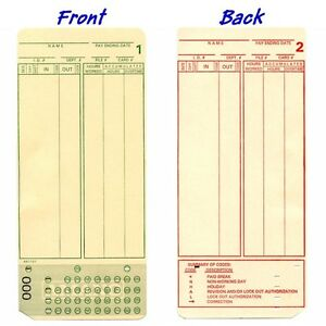 200 Count Form A1181 Amano Mjr7000 Mjr8000 Time Cards Numbered 000 099