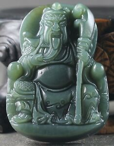 Old Chinese Natural Jade Hand Carved Buddha Guangong Pendant