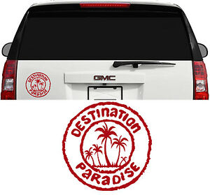 Destination Paradise Hawaii Florida Ocean Palm Tree Decal Sticker 4 Inch Dk Red