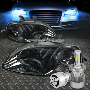 Smoked Housing Headlight clear Corner white Led H4 Hid W fan For 99 00 Civc Ej