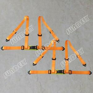 Pair Orange 3 4 Point Racing Seat Belt Harness For Car track Day off Road Buggy