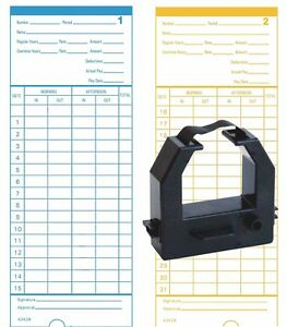 1000 Count Form 42426 Time Cards Plus One Black Ribbon For Pyramid Model 2400