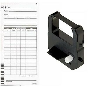 500 Ct Time Cards Plus One Black Ribbon For The Lathem 7000e 7500e Time Clock