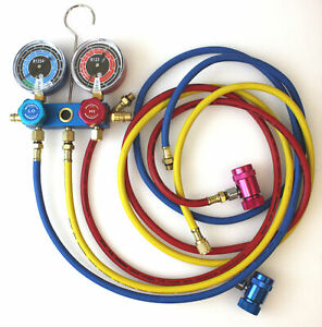 R1234yf Hvac Air Conditioning Aluminum Manifold Gauge Set W 72 Color Hoses A c