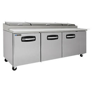 Masterbilt Mbpt93 3 Section Fusion Refrigerated Pizza Prep Table W Doors