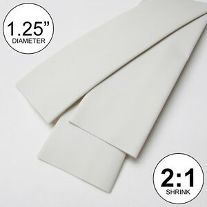 1 25 Id White Heat Shrink Tubing 2 1 Ratio 1 1 4 Wrap 2 Feet Inch ft to 30mm