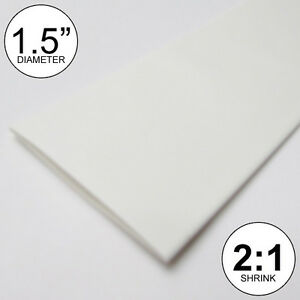 1 5 Id White Heat Shrink Tube 2 1 Ratio 8 Inches Polyolefin Foot ft to 40mm