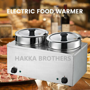 Hakka Commercial Countertop Food Warmer Buffet Soup Pot 2x3 5l