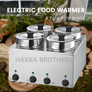 Hakka Commercial Countertop Food Warmer Buffet Soup Pot 4x3 5l