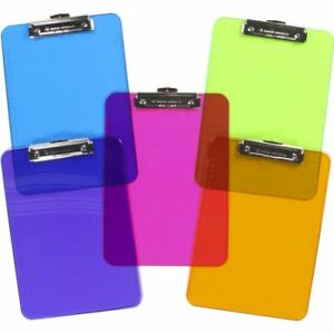 New Transparent Colorful Clipboards Office Desk Supplies Document Holder