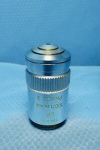 Leitz Phaco 3 Phase Contrast 100x Microscope Objective Lens 160mm