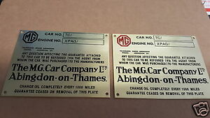Mg Vintage Style Acid Etched Data Plate Choice Color 2
