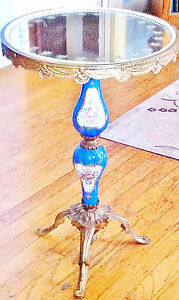Blue French Sevres Style Brass Porcelain Pedestal Lamp Starred Glass Table Top