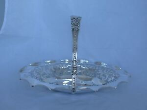 Large Antique English Sterling Basket With Handle