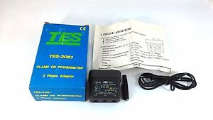 Tes 3061 Clamp On Power Meter 3 Phase Adaptor 600v Rms Cat Iii New
