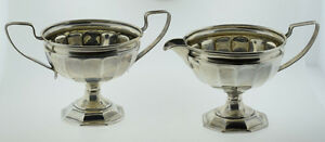 Webster Sterling Silver Fluted Creamer Sugar Bowl With Handles Not Weighted