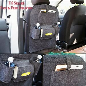 New Car Seat Back Multi Pocket Extra Storage Bag Organizer Holder Light Gray