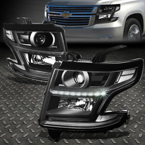 For 15 20 Chevy Tahoe Suburban Black Clear Corner Led Drl Projector Headlight