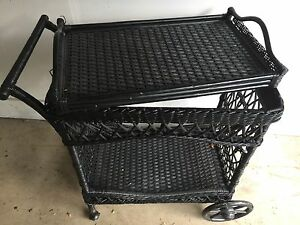 Wicker Tea Cart With Removable Tray Excellent Condition