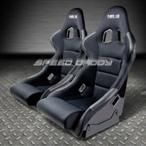 X2 Nrg Black Cloth Fiber Glass Bucket Racing Seats Side Mount Bracket Frp 311