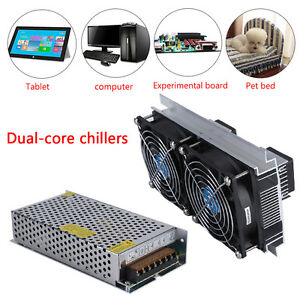 2 Core Refrigeration Thermoelectric Peltier Air Cooling Cooler Power Supply Eo