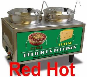 Benchmark 51072a Double 7 Qt Chili cheese Food Warmer 2 Ladles And Lids