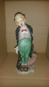 G Giuseppe Cappe Italy Capodimonte Sad Clown Porcelain Figure Missing Hat