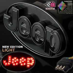 Jeep Hitch Cover Licensed Led Light Trailer Towing Receiver Black 6533