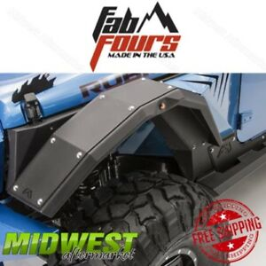 Fab Fours Full Width Front Fender Flares Body Armor For 07 17 Jeep Wrangler Jk