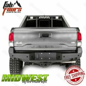 Fab Fours Direct Fit Black Premium Rear Bumper Fits 2016 2017 Toyota Tacoma