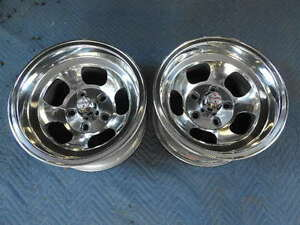 Vintage Pair 14x7 5 Us Indy Mag Style Polished 4 3 4 4 1 2 5 On 5 Caps