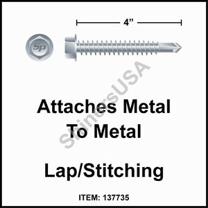 500 12 X 4 Self Drilling Tek 3 Hex Washer Head Zinc Siding Screw 137735