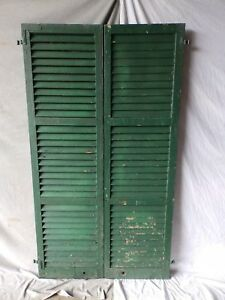 Pair Antique Window Shutters Wood Louvered Shabby Vtg Chic 72x20 207 17p