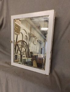 Vtg Industrial Metal Recessed Mount Old Medicine Cabinet Beveled Mirror 213 17p