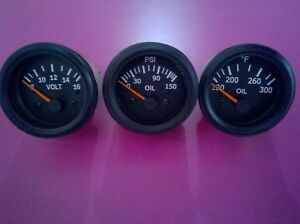 El Gauges 52mm 3pc Oil Pressure Gauge Oil Temp Gauge Volt Gauge Black